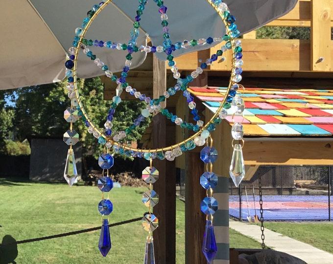 Blue Pentagram Crystal Sun Catcher