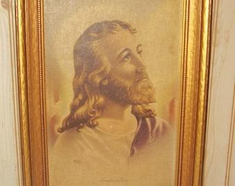 """Antique Vintage JESUS """"INSPIRATION"""" 1942 Wooden Frame Work of Art, J. M. McConnell, Sanders Manufacturing Co"""