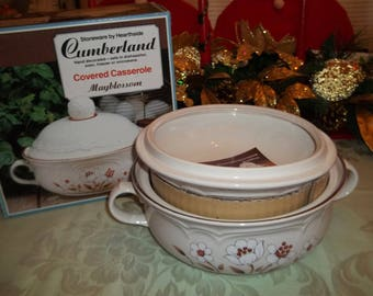 Vintage MAYBLOSSOM Stoneware Covered Casserole by Hearthside  New Old Stock
