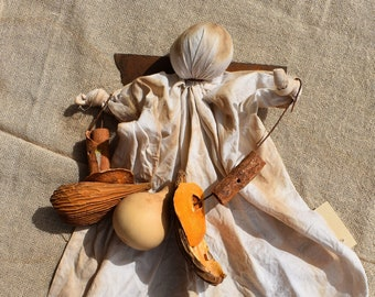 Harvest Angel with fall gourd garland
