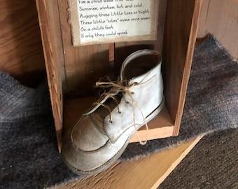 The Lost Sole Vintage Baby Shoe Vintage Wood Box Sweet Poem