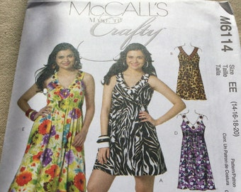 McCall's Pattern M6114 sizes 14-16-18-20 dress in three lengths