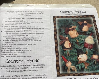 Country Friends Patterns, #560 Together Forever, Santa Hat Wine Topper, #715 Clothes Pin Ornies