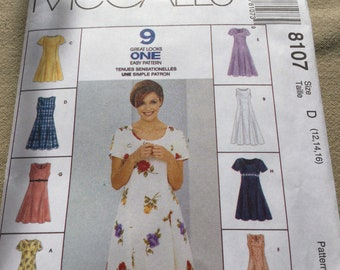 McCall's 8107 Pullover Dress Pattern in Two Lengths