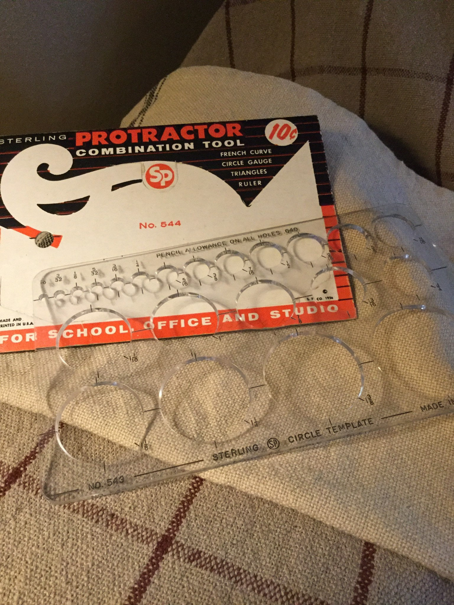 NEW Vtg Sterling 544 Plastic Protractor French Curve Ruler Circle Gauges Tool