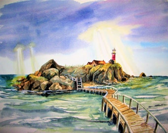 Island Lighthouse, 16x20 Original Watercolor Painting,One of a Kind,Not a Print