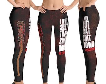 I Will Shut That S Down No Exceptions Negan - Walking Dead Parody - Leggings in Capri, Leggings, & Yoga Pants (Sizes XS - XL)