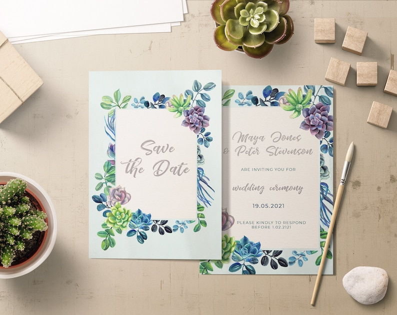Succulents Watercolor Frame clipart floral watercolor succulent frame cactus clipart frame digital PNG wedding invitation
