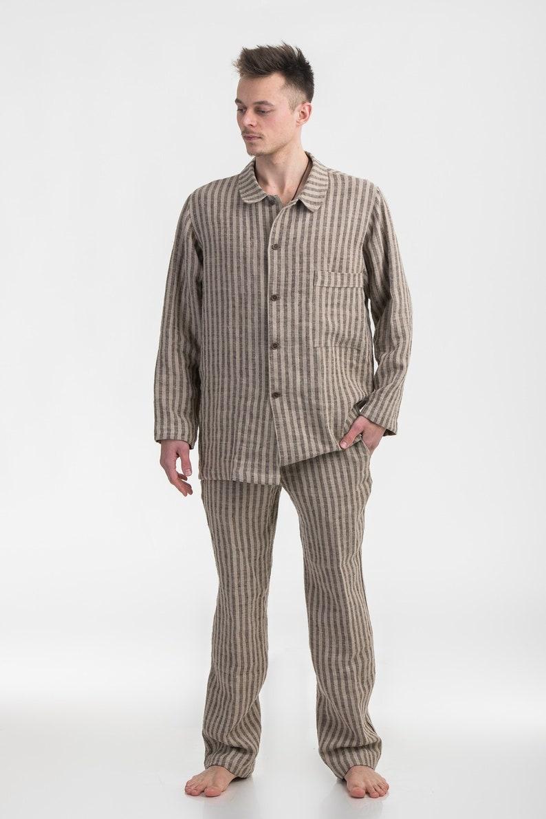 943e3742bf8f Mens Pyjama Set Black White checkered Pure Linen   Etsy