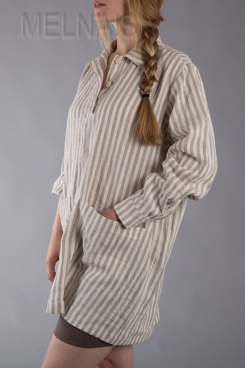 Linen tunic with long sleeves Oversized Linen Blouse Strippy shirt  Shabby Chic  Washed LinenTunic   Large   Ready to ship