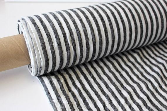 Tissu en lin pour tissu en lin adouci DIY rayé noir et blanc   Etsy b1605bebce7e