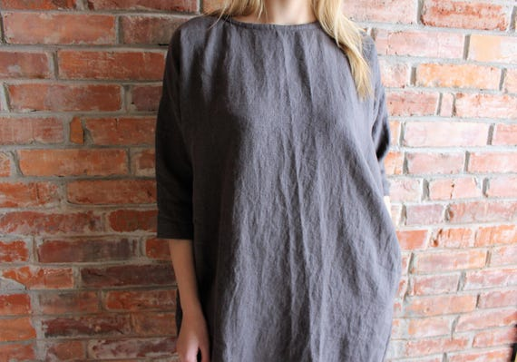 size Plus Dress Charcoal women loose Tunic for Gray Linen Oversized Tunic tunics Handmade linen tunic WY0Uxw
