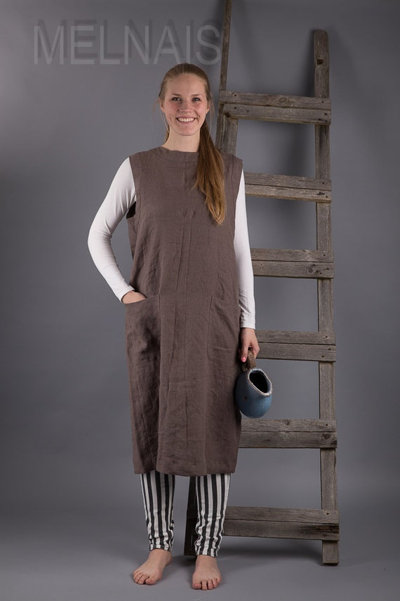 95910abbd1507 Blouse lin tablier japonais robe en lin lavé lin été chasuble   Etsy