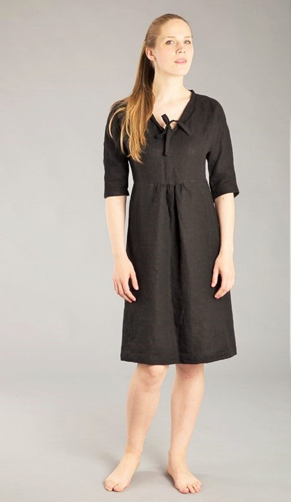 Dress 4 3 Sleeve Linen Romantic Linen Dress Linen Washed Fitted Black dress Flax Work Natural Linen Dress Feminine Dress qBzBf8Z