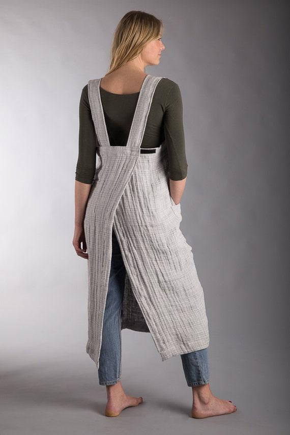 Long Apron Apron Artist Japanese Crumpled Gray Linen Flax Summer Dress Crossback Natural Apron Linen Smock Pinafore 84wzqn46x