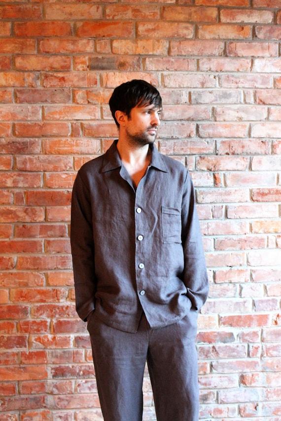 b3c598e07561 Mens Linen Pajama Linen Sleepwear Mens Linen night suit   Etsy