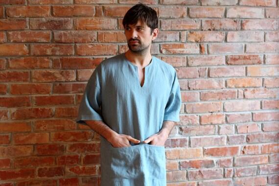 Loungewear Mans Short Robe Djellaba wear Mens Tunic sleeve Caftan Linen order Jellaba Linen Linen Linen Beach Custom Linen Kaftan Mens qExSYw8