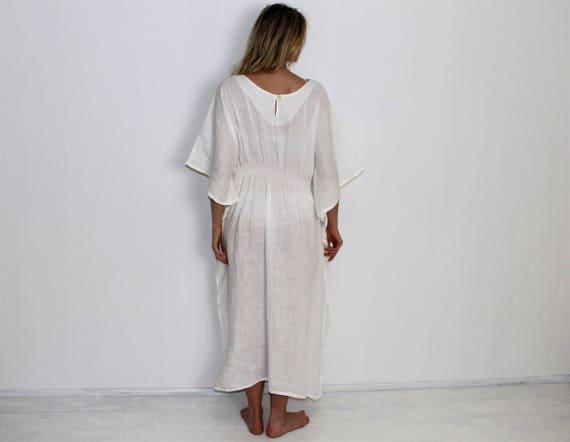 up Dress Caftan Kaftan Poncho Linen Morning Womens Leasurewear Loose Smock Beach Cover Linen Overalls Linen Linen Dress Long 6zACqzw