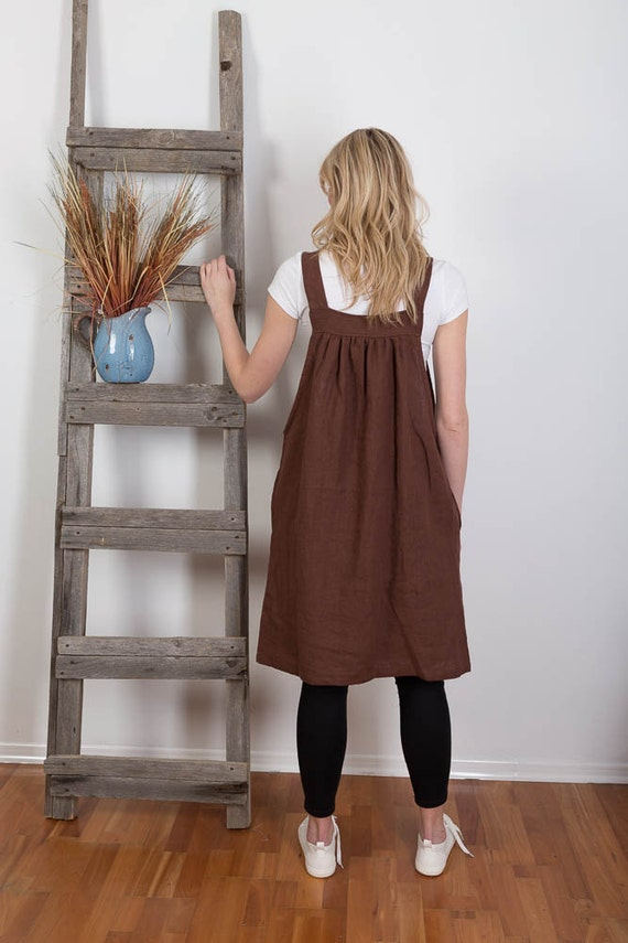 Washed Summer Linen Order Overalls Made Linen Size Pinafore Japanese Artist Brown Plus Linen Dress to Apron Apron Smock Tunic Flax rICrxBY