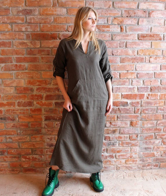 Flax Caftan order Djellaba Washed Long Custom Loose Womens Linen Kaftan Linen Linen Long dress Sleeve fit Linen Smock Robe Dress Linen Dress ngqOwz