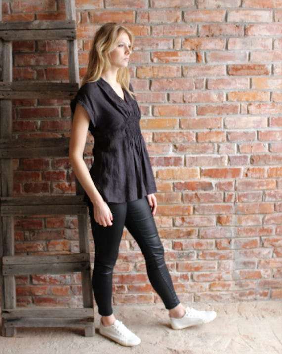 Empire Blouse Sleeveless Washed Fitted Flax to Shirt Black top Waist Blouse Linen ship Large Linen Blouse Sleeveless Linen Linen Ready 7rYpw7