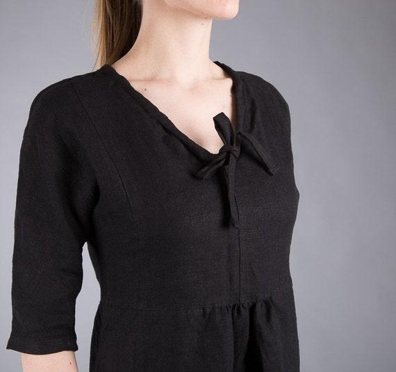 Linen Linen Linen Fitted Black Romantic Natural 4 Dress Washed Dress 3 Sleeve Linen Flax Feminine Dress Dress Work dress wqYqTraA