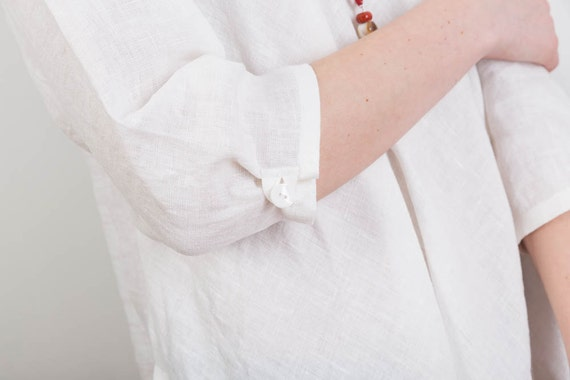 Oversized Dress White dress Linen Linen Tunic Linen tunic sleeves Swing top Womens Casual Long Handmade Long xUw51