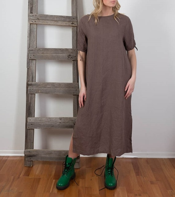 Maxi Dress Flax Smock Linen Linen Linen Festival Dress Dress Sleeve Short Dress Loose Long Linen dress Boho Dress fit Washed Summer Uz5xqw1