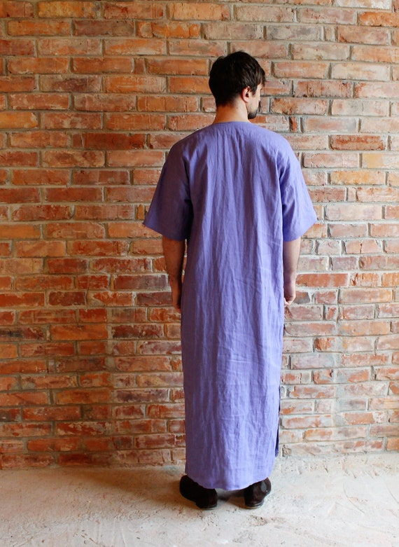 Homewear Short Loungewear Custom Caftan Long Robe Beach wear order Linen Mens Purple Kaftan Purple Linen shirt Sleeve Linen Mens qExPTP