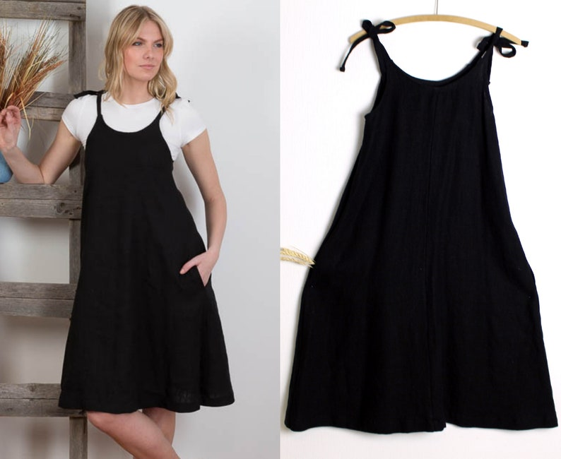 141466c4267 AVAILABLE NOW BLACK Linen Strap dress Linen Slip Dress  Washed
