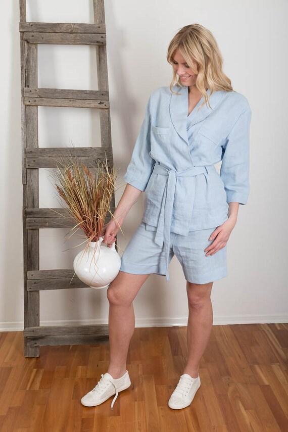 Linen Pajamas Woman Linen Robe Beachwear Pyjamas Linen  9423632d52