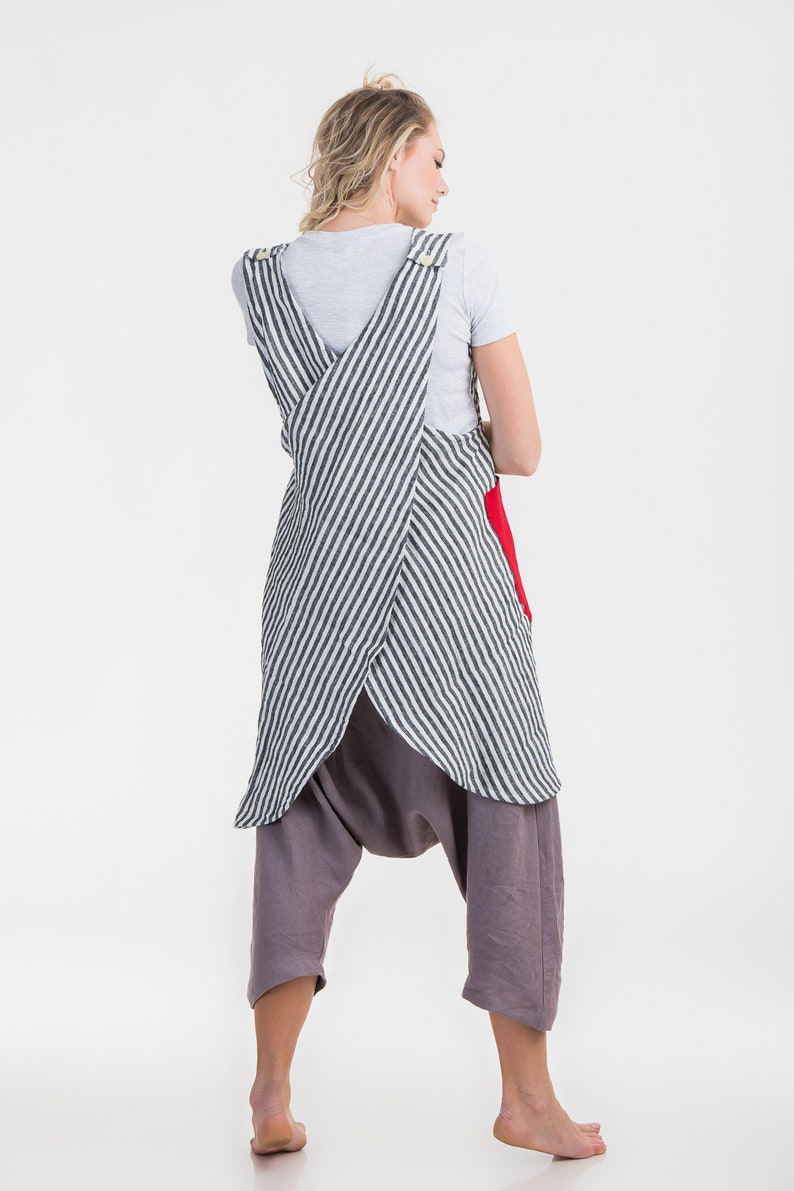 Linen Overalls Japanese Apron  Washed Linen Summer Pinafore Long Apron Artist Smock with Pockets Linen Artisan Pinny Natural Crossback Apron
