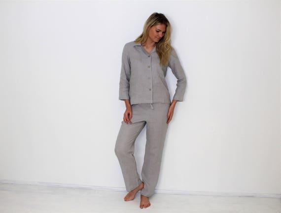 Linen Pajamas Womens Linen Pants And Shirt Pyjamas Womens Etsy