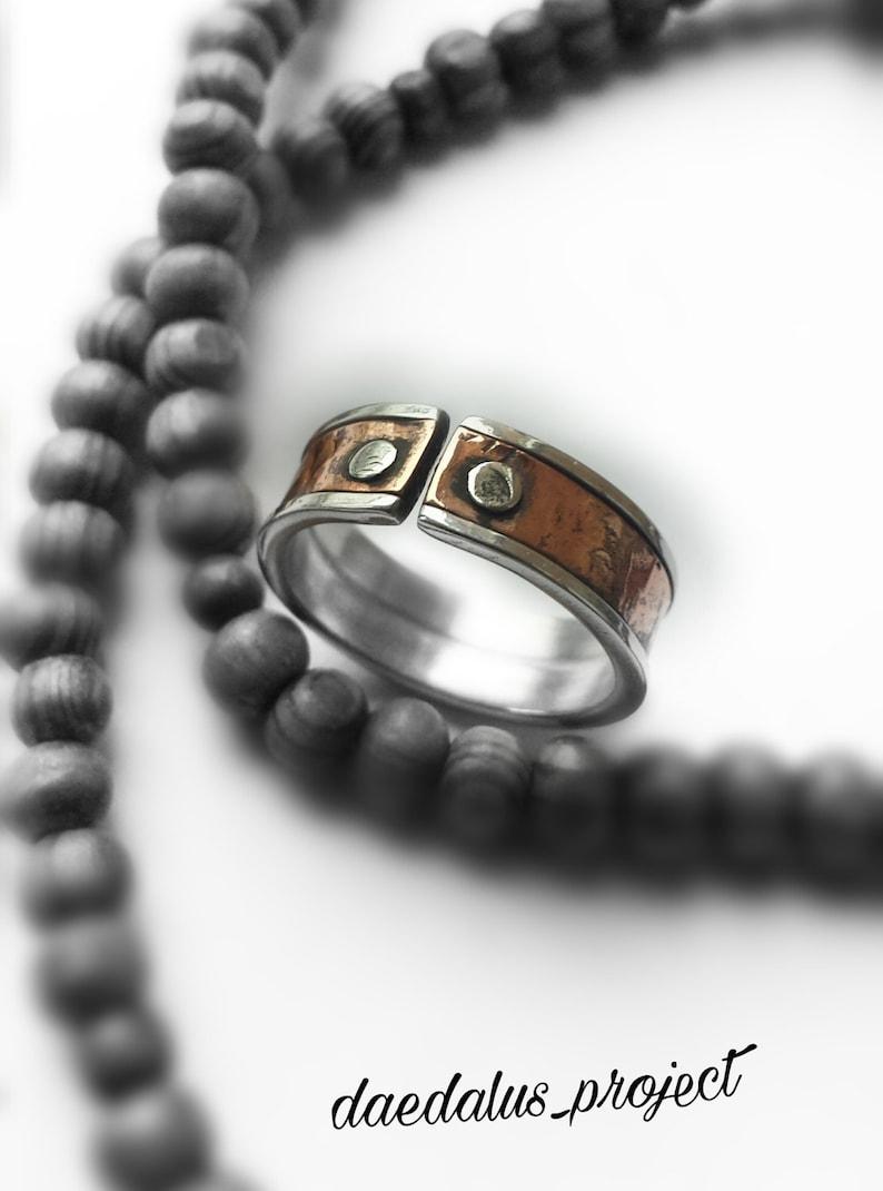 Handmade Vintage style Man woman ring Copper Aluminum Unisex Rings Aluminium copper
