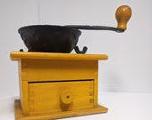 Antique wooden coffee grinder - W. H. Co. - yellow box wood w cast iron crank and basket - spice grinder, cafe