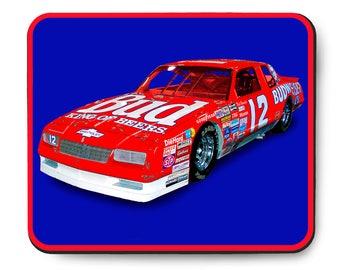 NASCAR Budweiser Monte Carlo Mouse Pad, 1986 Chevrolet Neil Bonnet Winston Cup race car, 1980's auto art