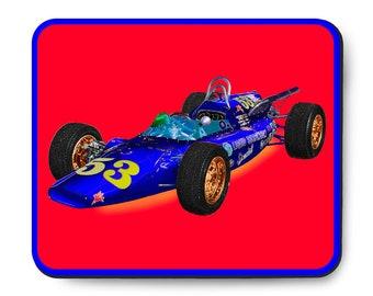 Indy 500 race car mouse pad, vintage British MG Liquid Suspension Special, 1964 Indianapolis 500, 1960's auto