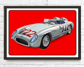 Mercedes-Benz 300 SLR Vintage rally race car, Sir Stirling Moss, 1950's auto