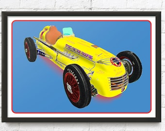Indy 500 race car art, Wynn's Friction Proofing Spl., Vintage 1950 Indianapolis 500 Winner, 1950's auto