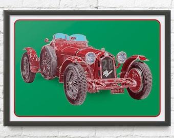 Alfa Romeo race car art, vintage Italian Gran Prix race car, F1, Formula One, 1930's auto