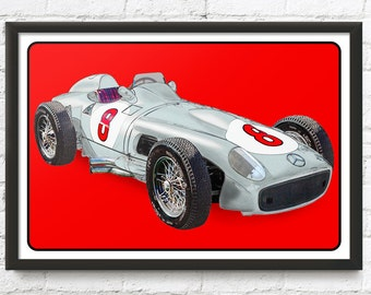 Mercedes-Benz race car art, W196 R 1955 vintage Formula One, F1, Juan Manuel Fangio, 1950's auto
