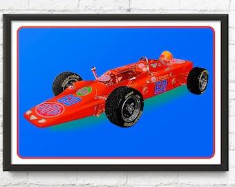 Indy 500 race car art, vintage Lotus Turbine, 1968 Indianapolis 500 Pole Winner, 1960's auto