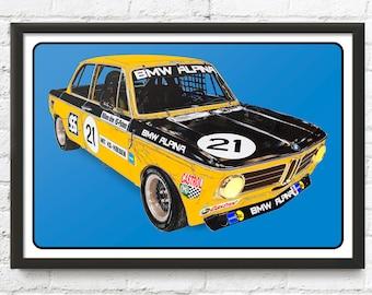 BMW Alpina 2002ti race car art, vintage race car, TRANS-AM series, 1970's auto
