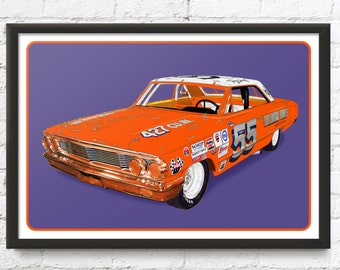 Ford Galaxie race car art, vintage NASCAR, Tiny Lund's #55 1964 Grand National Stock Car, 1960's auto