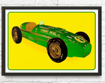 Cummins Diesel Special race car art, Vintage Indianapolis 500 The Green Hornet, 1950's auto, Indy 500 Car