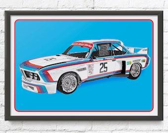 "BMW 3.0 CSL ""Batmobile"", Vintage German race car art, Winner of 1975 12 hours of Sebring, 1970's auto"