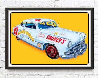 1951 Fabulous Hudson Hornet #92 print, Doc Hudson Cars Movie, NASCAR 1950's auto