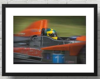 Max speed race car art, IMSA Oreca FLM09 Chevrolet driven by Bruno Junqueira Brazil, photograph