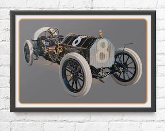 Indianapolis 500 race car art, vintage Indy car, Bête Noire Alco, 1909 The Black Beast, 1900's auto, brass era