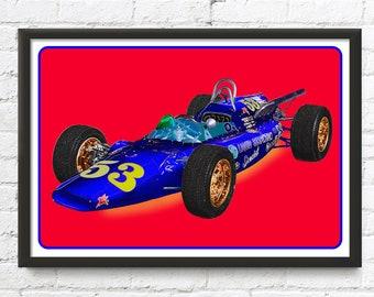 Indy 500 race car art, vintage British MG Liquid Suspension Special, 1964 Indianapolis 500, 1960's auto